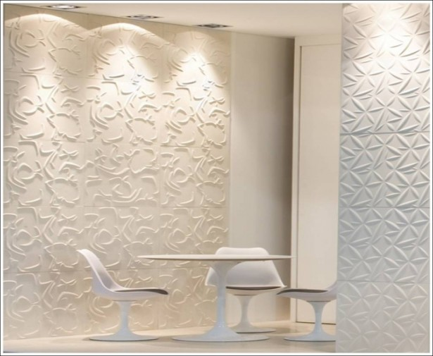 3D Wall Tile Design Ideas For New Dimension Of Wall Decor: Beautiful Creamy White Textured 3D Wall Tiles That Called Lithea Blends With Accurate Lighting With White Round Table And Chairs Ideas ~ stevenwardhair.com Interior Design Inspiration