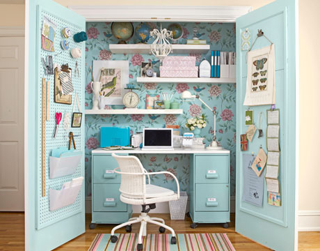Build Your Desk In A Closet : Beautiful Desk In Closet Ideas Wall Shelves Wallpaper Chair Floor Mat Door Lamps Wood Flooring
