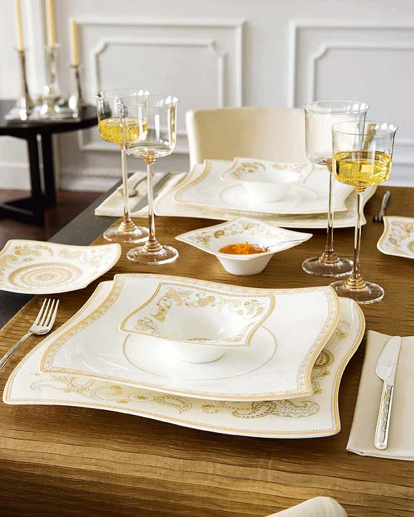 Christmas Decorations Ideas: Dinner Table Decorations: Beautiful Dining Table Decorations Ideas With Contemporary Light Brown Floral Theme Dinner Set And Wine Glass On Brown Table Cloth ~ stevenwardhair.com Chairs Inspiration