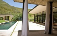 The Swellendam House: Sustainable Contemporary Home In South Africa : Beautiful Exterior Design With Pool Concrete Floor Curtain Lounge Glass Wall And Natural Landscape View Ideas