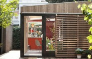 Home Office Inspiring Ideas : Office In Contemporary Garden Pavilion : Beautiful Facade Of Guest House Garden Pavilion With Wooden Sliding Window Guards
