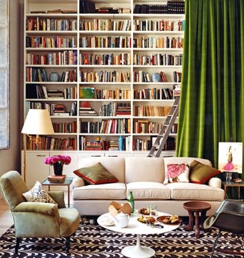 Miscellaneous High End Bookshelves Design: Beautiful Family Reading Room Decoration With Aureasfcom White High End Bookshelf White Sofa On Area Rug And Green Curtain