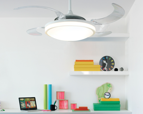 Innovative Ceiling Fan Ideas: Retractable Blade Ceiling Fans Design : Beautiful Fanaway Retractable Blade Ceiling Fan Design With Shelf Ideas