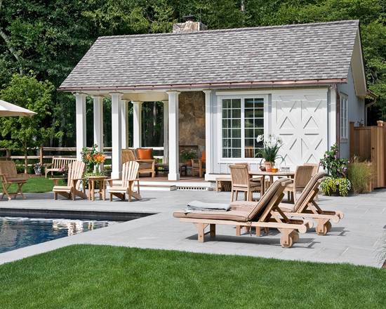 Buying A House With A Pool: Beautiful Farmhouse Pool Chimney Seats Table Chair Flowers Sofa Umbrella Lawn Fence Surround Tree Ideas ~ stevenwardhair.com Chairs Inspiration