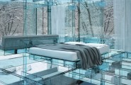 Unique Appearance Of Wonderful Glass House From Europe : Beautiful Glass House From Europe With Low Profile Bed Soft Grey Quilt Comfort Modern Mattress Glass Wall