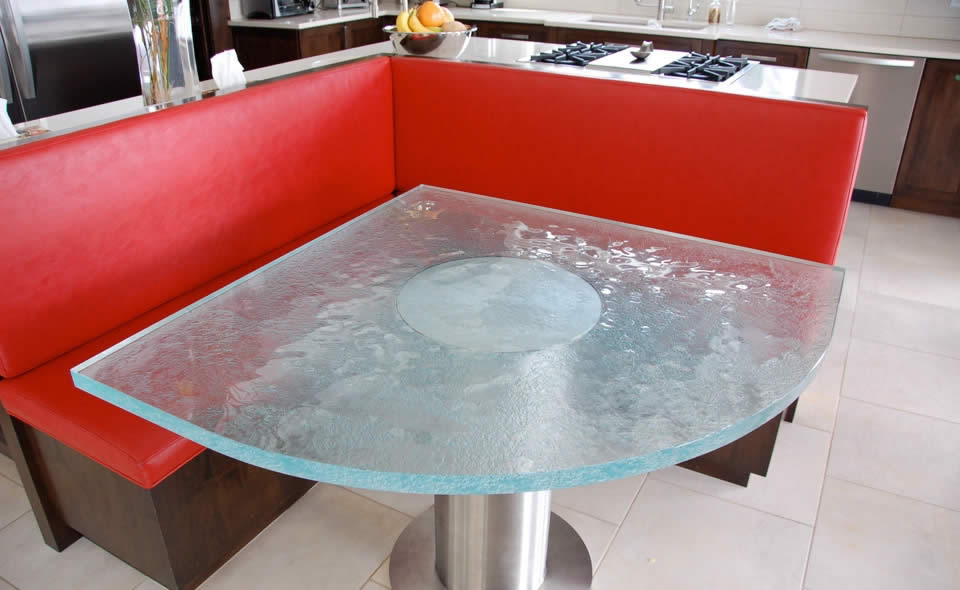 Inner Glow ThinkGlass Versatile Countertop Design : Beautiful Glass Table Top Design With Granula Crystal Polished Glass For Small Space Ideas And Sofa Tile Flooring