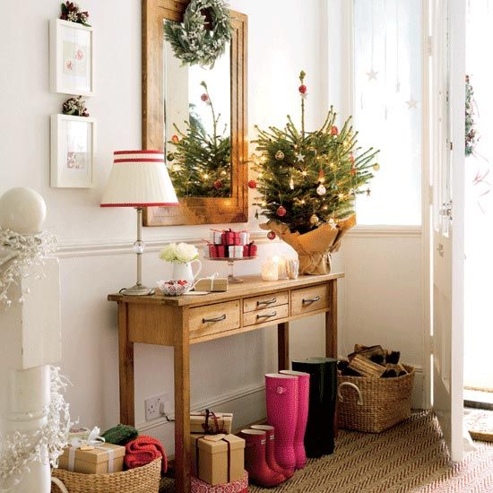 Beautiful Christmas Tree Decorating Ideas: Beautiful Hallway Small Christmas Tree Decorations On Desk Ideas With Mirror ~ stevenwardhair.com Holiday Decoration Inspiration