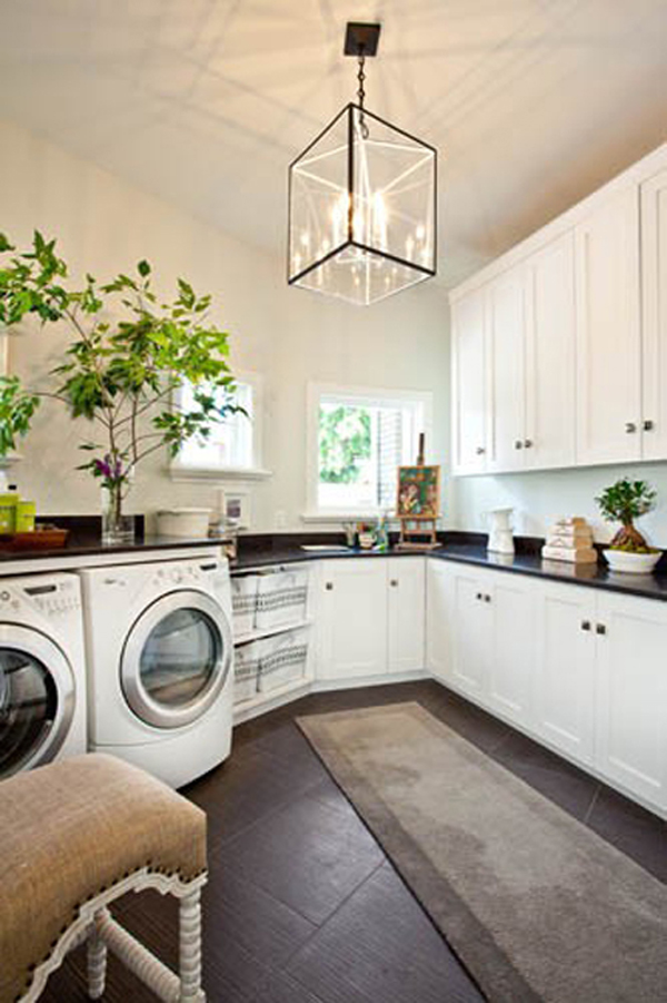 Healthy Home : Beautiful Healthy Home Laundry Room White Glossy Color Cabinet Marble Countertop Pendnat Lamp Chair Rug Tile Floors