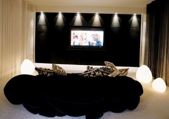 Home Theater Room Planning Ideas: Beautiful Home Theater Designs With Black Color Sofa Cushions Lighting Wall Curtain Carpet Ideas