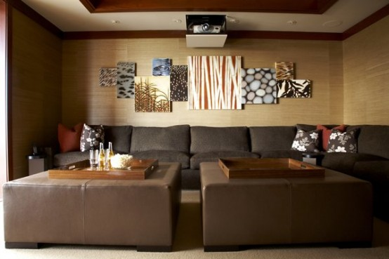 Home Theater Room Planning Ideas : Beautiful Home Theater Designs With Sofa Cushions Table Wooden Wall Wall Decor Ideas