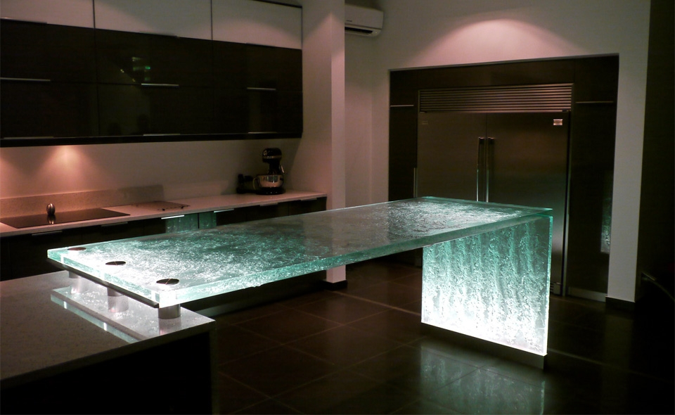 Inner Glow ThinkGlass Versatile Countertop Design : Beautiful Illuminated Custom Special Strata Crystal Polished Glass Countertop Unique Kitchen Design With Cabinet Tile Flooring Ideas