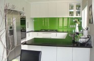 Kitchen Backsplash Design Ideas : Beautiful Kitchen Design With Gorgeous Green Glass Backsplash Ideas