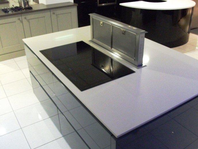 Modern Embedded Kitchen Hoods Design Ideas: Beautiful Kitchen Island Design With Modern Island Hood Called Movie Ideas