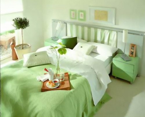 Small Master Bedroom Colors Design Ideas : Beautiful Light Green Color Small Master Bedroom Interior Design Ideas1