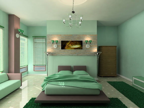 Small Master Bedroom Colors Design Ideas: Beautiful Light Green Relaxing Master Bedroom Colors Design With Arch Lamps Sofa Chandelier Rug Tile Flooring Ideas