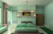 Small Master Bedroom Colors Design Ideas : Beautiful Light Green Relaxing Master Bedroom Colors Design With Arch Lamps Sofa Chandelier Rug Tile Flooring Ideas1