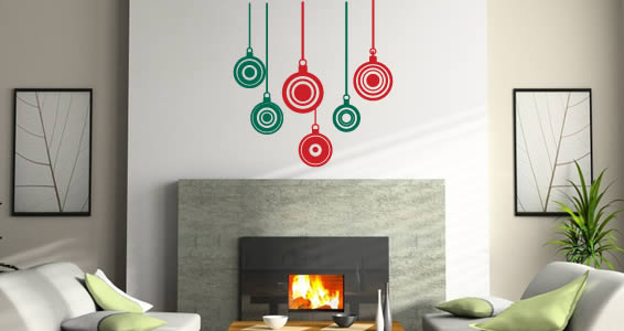 All Kind Of Christmas Holiday Wall Decals : Beautiful Living Room With Stunning Red Green Christmas Bulbs Wall Stickers