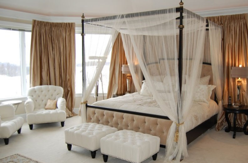Flaunt Your Bedrooms with Decorative Canopy Beds (part-2): Beautiful Luxury Country Homes Bedroom Design With Luxurious Tufted Boards Canopy Bed And Breezy Curtains