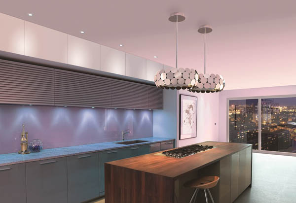 Modern Embedded Kitchen Hoods Design Ideas : Beautiful Modern Ceiling Mounted Pendant Hood That Called Vintage With Cool Blue Kitchen Cabinet And Wooden Kitchen Island With Lighting In Modern Kitchen Interior Design Ideas
