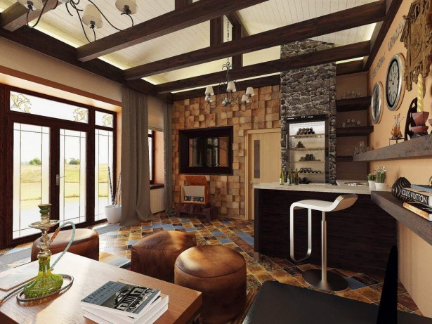 Beautiful Modern Country Styles Living Room Interior Decoration With Inspiring Wall Panel Anf Unique Style Tile Flooring