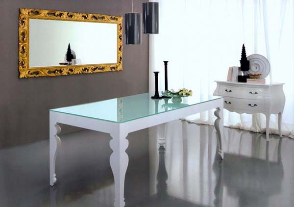 Picture Of Awesome Modern Dining Table Design : Beautiful Modern Design With Classic Style White Laquered Structure Dining Table With Glass Surface Design Ideas With Pendant Lights Mirror And White Gloosy Chest Of Drawer