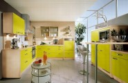 Modern Kitchen Design : Beautiful Modern Kitchen 24 Yellow Color Cabinets Chairs Table Tempered Glass Wall Inspiring Tile Flooring Ideas Nobilia