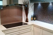 Modern Embedded Kitchen Hoods Design Ideas : Beautiful Modern Kitchen Cabinet Design With Modern Wall Mounted Hood That Called Dune And Glass Mosaic Backsplash Ideas