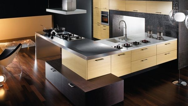 Modern Kitchen Design: Beautiful Modern Kitchen Design 23 Wooden Cabinets Arch Lamps Rug Chairs Wooden Flooring Ideas