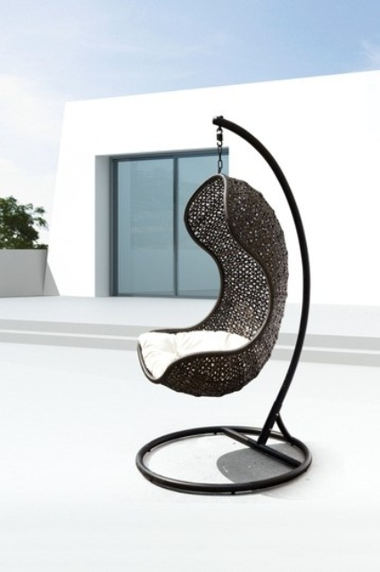 Unbelievably Relaxing Piece Of Furniture Hanging Chair : Beautiful Modern Outdoor Hanging Chair Curve Shaped Made Of Dark Colored Rattan With Simple Minimalist White Cushion
