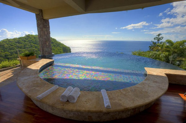 Inspiring Infinity Pool Ideas: Jade Mountain Resort Private Infinity Pool Design: Beautiful Ocean View Private Infinity Pool Design Ideas With Scenic Beauty View