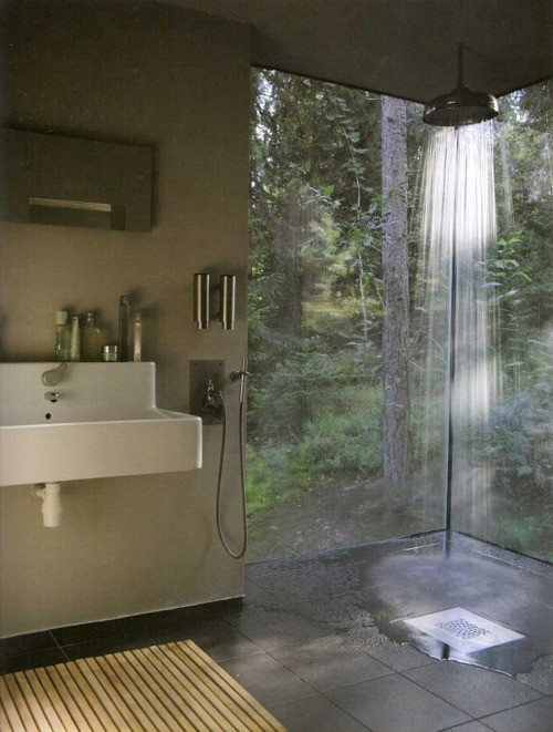 Open Shower Bathroom Design Ideas: Beautiful Open Shower Bathroom Design With Sink Glass Wall Backyard View Tile Flooring Mat Ideas