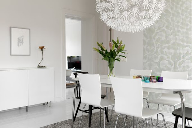 Oversized Pendant Lights Design : Beautiful Oversized Chandelier Pendant Lights At Gray White Dining Room Design With Table Chairs Vase Cabinet Tile Wall Rug Wooden Flooring Ideas