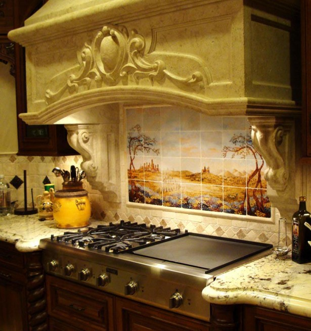 Remarkable Morrocan Style For Your Romantic House: Beautiful Painting Moroccan Decor Ideas With Backspalash Contemporer Stove Wooden Counters Ivory Wall White Marble Countertops