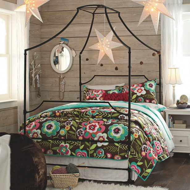 Flaunt Your Bedrooms with Decorative Canopy Beds (part-1): Beautiful Pottery Barn Teen Bedroom Design With A Stylish Iron Frame With Smooth Curves And Sharp Angles Open Mansion Canopy Bed ~ stevenwardhair.com Bed Ideas Inspiration