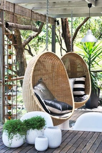 Rattan Outdoor Hanging Chairs Models That Can Be Put Outside or Inside: Beautiful Rattan Outdoor Hanging Loungers In The Terrace With New Deluxe Rootan Sky Air Chair Swing Hanging With Pillow And Drink Holder
