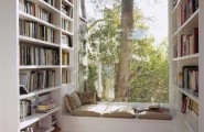 Picture Of Bay And Backyard View Windows : Beautiful Reading Room With Backyard View Window Seats Cushions Book Shelves Wooden Flooring Ideas