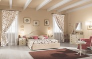 Beautiful Country Style Decoration For Your Home : Beautiful Romantic Peach Color Scheme Country Style Bedroom Decoration With Flower Theme Curtain And Bedding Ideas