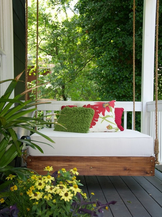 Breathtaking Relaxing Outdoor Hanging Bed Design Ideas: Beautiful Romantic Small Comfortable Resting Place Outdoor Hanging Bed With Stunning Bold Red Flower Pattern Throw Pillow And Fuzzy Green Fur Cushion