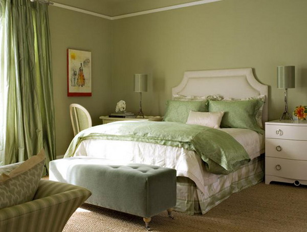 Small Master Bedroom Colors Design Ideas: Beautiful Shade Green Colors Small Master Bedroom With Sofa Quilt Lamps Wall Decor Chest Of Drawer Ideas