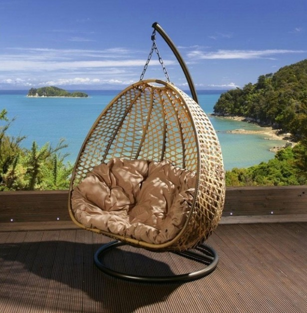 Unbelievably Relaxing Piece Of Furniture Hanging Chair: Beautiful Simple Outdoor Hanging Chair Pao Shaped Made Of Rattan Mesh And Thick Soft Cream Colored Cushion ~ stevenwardhair.com Chairs Inspiration