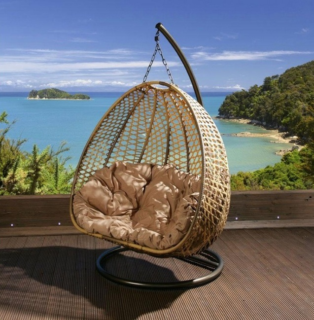 Unbelievably Relaxing Piece Of Furniture Hanging Chair: Beautiful Simple Outdoor Hanging Chair Pao Shaped Made Of Rattan Mesh And Thick Soft Cream Colored Cushion