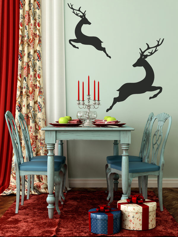All Kind Of Christmas Holiday Wall Decals : Beautiful Simply Deer Christmas Wall Decals And Light Blue Dining Table Set