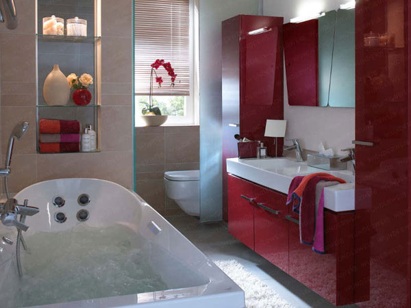 Small Bathroom Design Ideas : Beautiful Small Bathroom Interior Design Maroon Color Cabinet Bath Tube Wall Shelf Mirror Lighting Curtain Rug Tile Flooring Ideas1