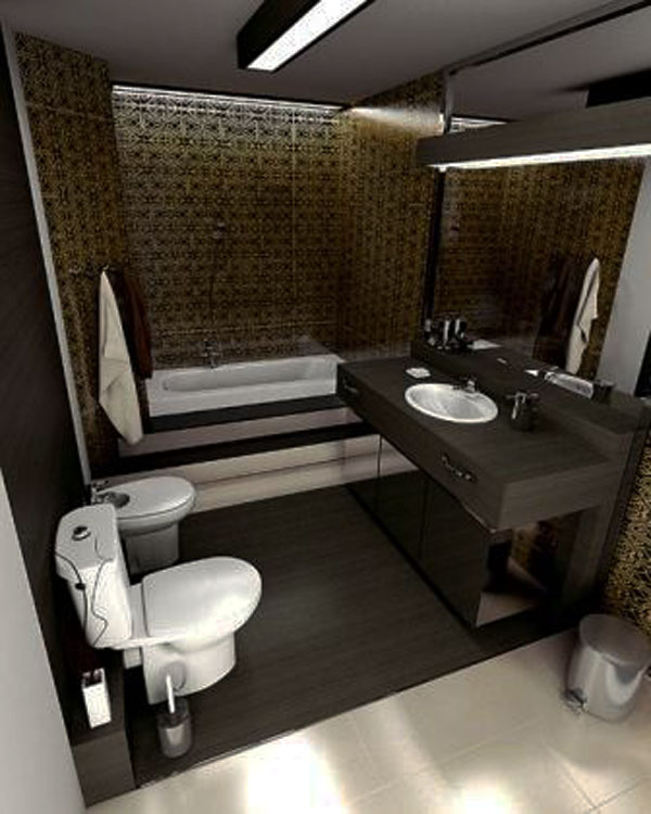 Small Bathroom Design Ideas : Beautiful Small Bathroom Interior Design Unique Tile Wall Bath Tube Cabinet Wood Flooring Tile Flooring Lamps Mirror Decorating Ideas