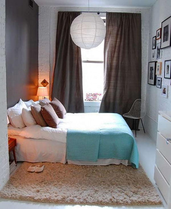 Excellent Ideas To Make Small Bedroom Look Bigger : Beautiful Small Bedroom Design With Blue Color Bedcover Pillows Chair Chest Of Drawer Rug Pendant Light Curtain Lerge Window Wall Decor And Flooring Ideas