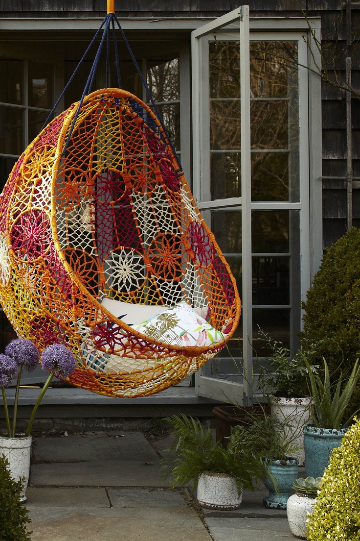 Unbelievably Relaxing Piece Of Furniture Hanging Chair: Beautiful Stunning Outdoor Hanging Chair Bohemian Feel Made Of Colorful Pattern Mesh With Simple Soft White Throw Pillows