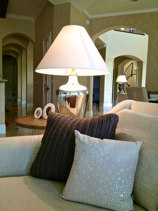 Extraordinary Sweater Pillow Covers : Beautiful Sweater Weave Pillows With Sequins At Beach Style Family Room