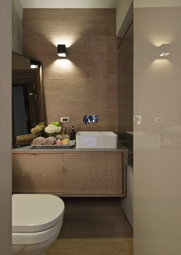 Exquisite Taipei Studio, Office Space By Day Cozy Home By Night: Beautiful Taipei Apartment Bathroom Interior Design With Wall Lamp Mirror Wall Decor Vessel Sink Cabinet And Tile Flooring Ideas ~ stevenwardhair.com Apartments Inspiration