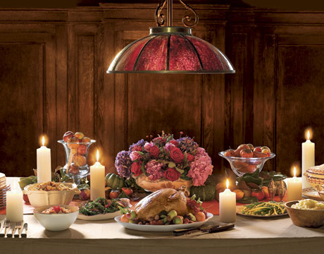 Inspiring Thanksgiving Table Decoration For Successful Celebration : Beautiful Thanksgiving Table Decorations Classic Romantic Pink Theme Flower Arrangement As Center Piece Roses Thick White Candles Rustic Red Pendant Lamp