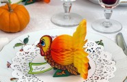Inspiring Thanksgiving Table Decoration For Successful Celebration : Beautiful Thanksgiving Table Decorations Orange And Yellow Turkey Paper Name Plate Small Pumpkin Accent Paper Lace Napkin On A Pretty China